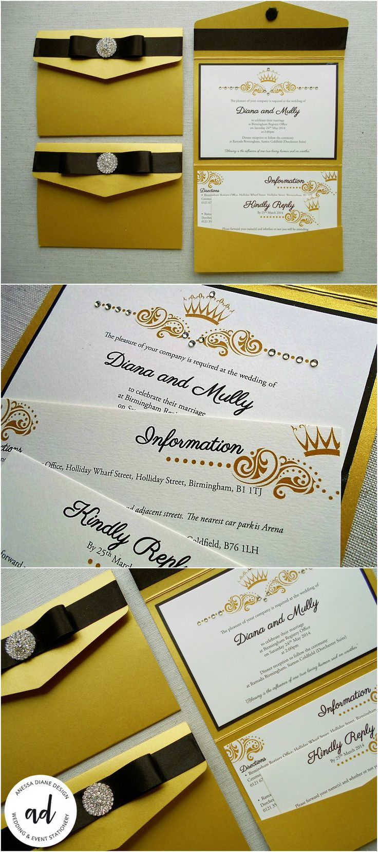 wedding stationery packages uk%0A Black and gold elegance  shimmering gold Pocketfold wedding invitation hand  finished with a satin bow luxurious diamante button and    gold rhinestones