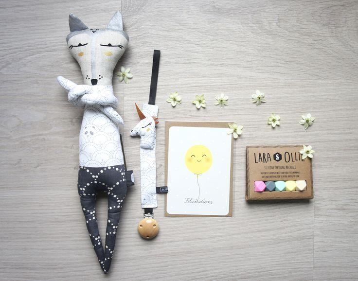 Doudou Renard, Attache-tétine licorne, carte Félicitations & Collier de dentition
