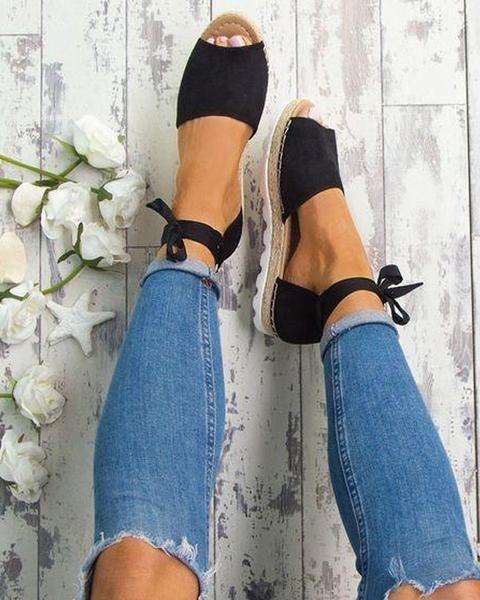 e80d429dfca9 Open Toe Bandage Flat Sandals in 2019