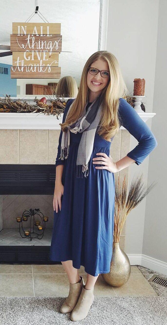 Blue dress with scarf