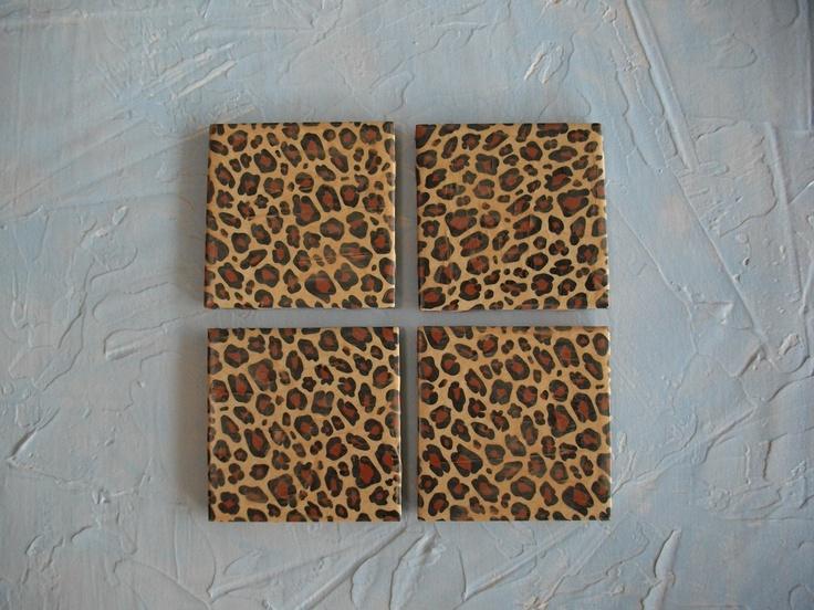 Leopard Print Ceramic Tiles Coaster Set. $12.00, via Etsy.