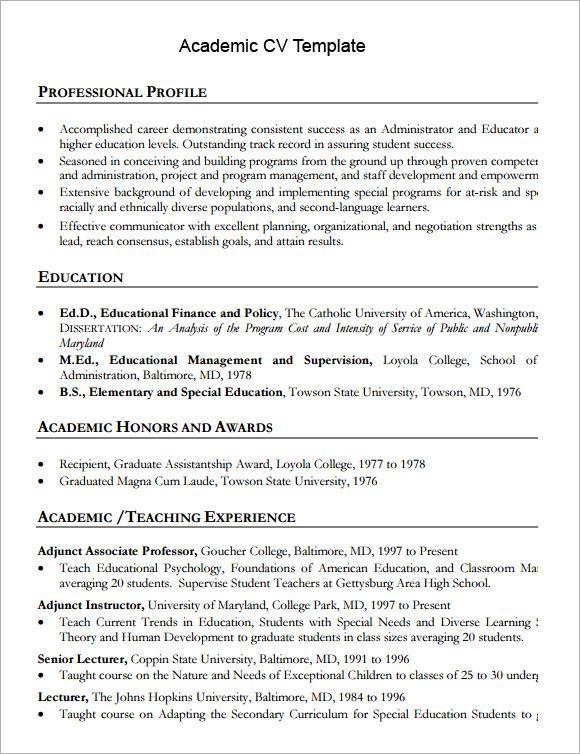 cv template academic academic cvtemplate template