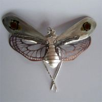 """Thea"" handmade insect, silver, copper, enamel - one of a kind by Nicole Bolze ORIGINALS"