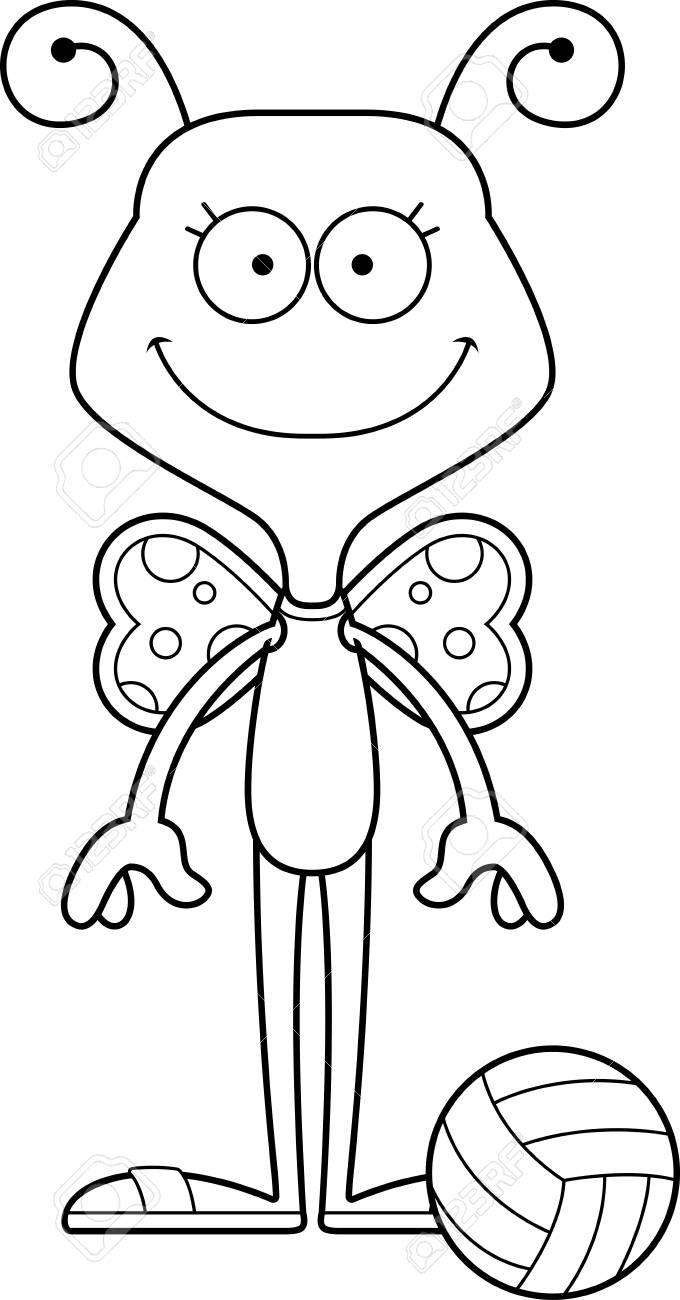 A Cartoon Beach Volleyball Player Butterfly Smiling Sponsored Volleyball Beach Cartoon Smiling Butterfly Beach Volleyball Cartoon Butterfly