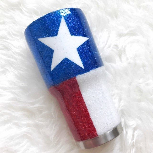 The Texas Glitter Stainless Steel Tumbler/Cups - Rose Gold