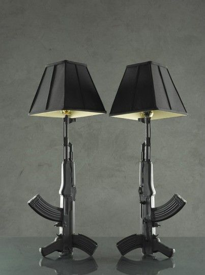 AK-47 Lamps, this is a man's decorating tip, especially if they are also functioning.  LOL.