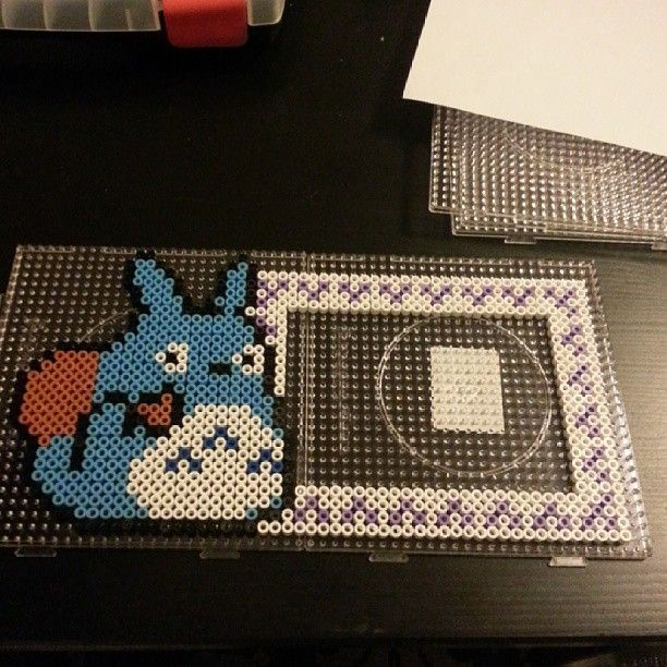 Totoro photo frame hama perler beads by mrs_althea