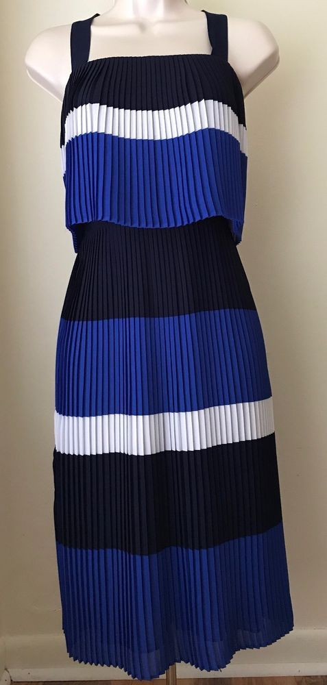MICHAEL Michael Kors Wide Stripe Pleated Georgette Popover Dress NWT Size 2, 12 #MichaelKors #Sheath #Casual