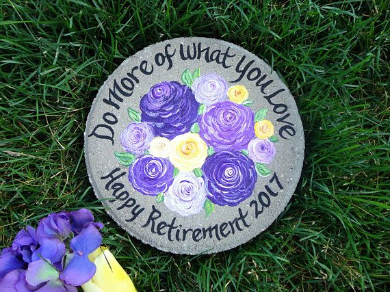 RETIREMENT GIFT, Years of Service, Hand Painted Garden Stone, Retirement Gifts, Teacher Gift, Gift from Student, Gift for Teacher, Milestone