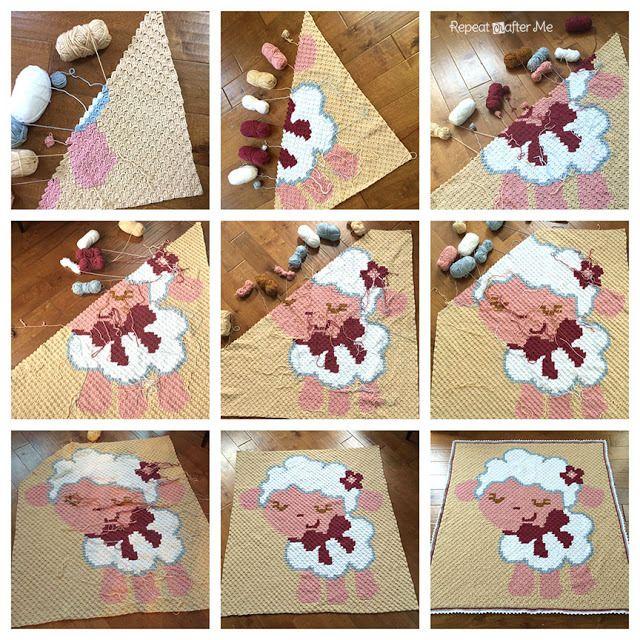 Crochet Corner To Corner C2c Baby Sheep Graphgan Made With