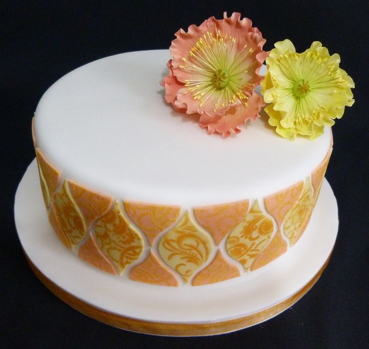 My peach toned tile cake, inspired by Lindy Smith's designs
