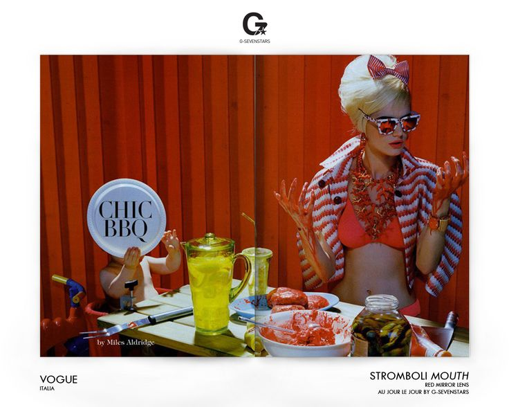#Vogue #Italy #2013 #Aujourlejour #Mouth with Red #Mirror lens by G-Sevenstars #Sunglasses