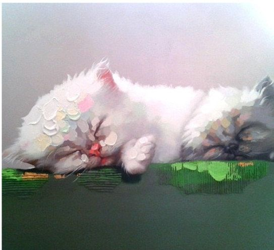 SLEEPING CATS - HANDMADE OIL PAINTING ON CANVAS - WALL ART