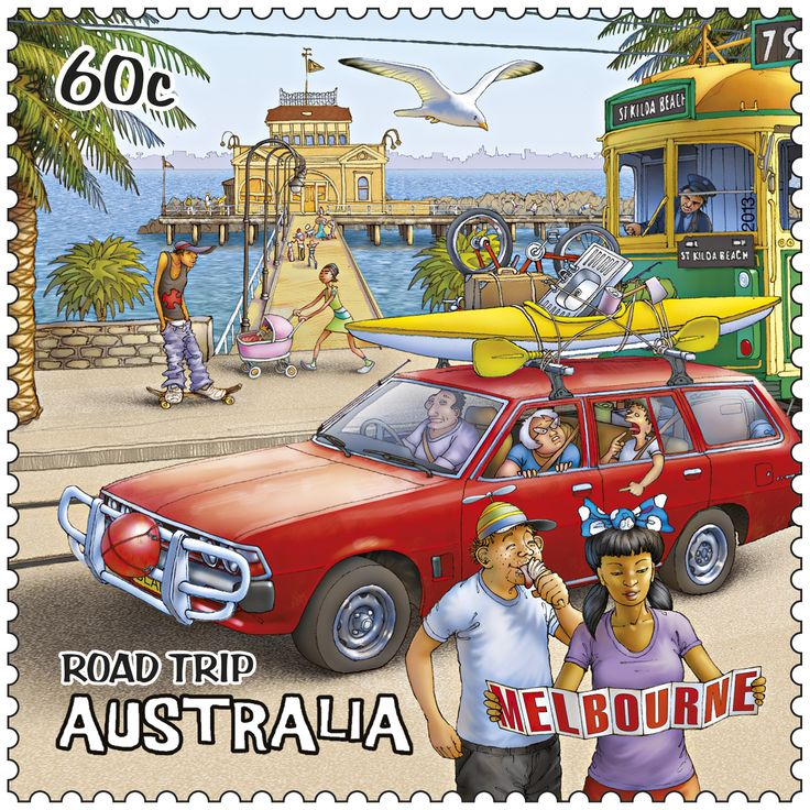 Melbourne captured here on our colourful stamp. #stampcollecting