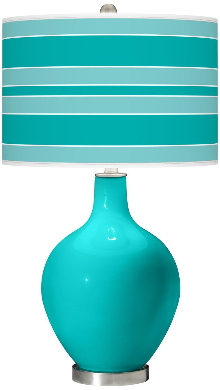 Color Azul Turquesa - Turquoise!!!  small accent of turquoise in a room                          I would use 1 or 2 of these lamps, with or without the striped lampshade, depending on the room design.