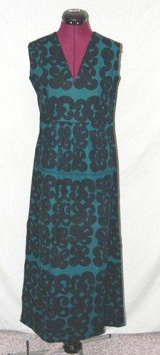 Vintage Marimekko Suomi Finland Teal Black Cotton Maxi Dress | eBay
