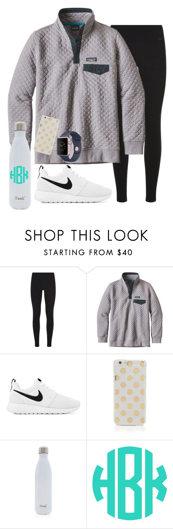 """obsessed with my new Patagonia  outfit for practice tonight!"" by sydneygrignon ❤ liked on Polyvore featuring NIKE, Patagonia, Kate Spade and S'well"