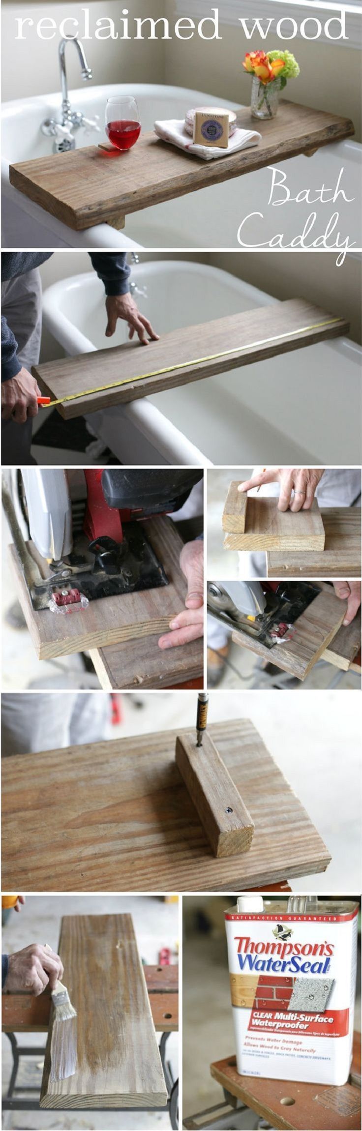 Bath Caddy with A Built In Wine Holder - 17 Easy DIY Woodworking Project Tutorials | GleamItUp