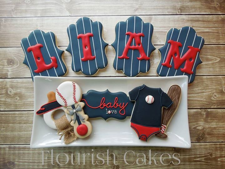 baby shower baseball cookies