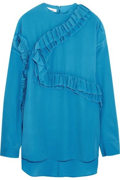 Cédric Charlier - Ruffled Georgette Top - Turquoise - IT