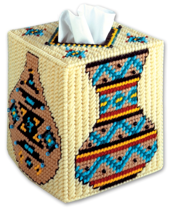 Needlecraft Super Shop - Southwest Vases Plastic Canvas Tissue Box Cover, $16.99 (http://www.needlecraftsupershop.com/southwest-vases-plastic-canvas-tissue-box-cover/)