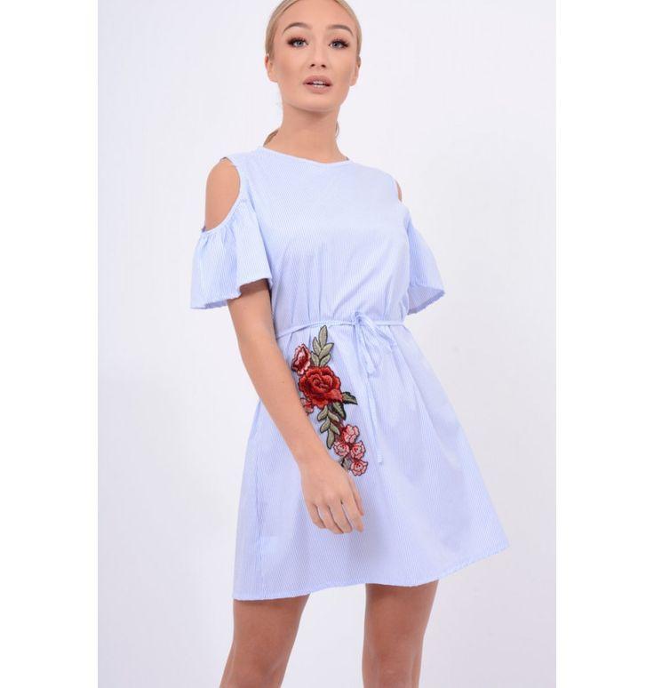 Φόρεμα με ανοιχτούς ώμους και κέντημα