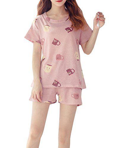 2ee93e86a YUEXIN Big Girls Cotton Short Pajamas Kids Cup Printed Nighty Sleepwear PJS