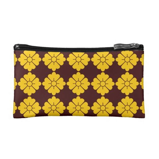 Customizable floral pattern purses / cosmetics bags - Customizable: The design (in yellow) is tileable (you can scale it up or down to customize it). The background (in brown in the preview) can be changed to any color you like.