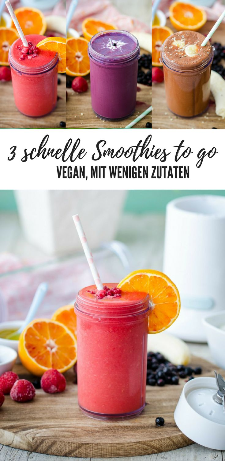 3 quick smoothies to go – all vegan with just a few ingredients. Strawberry Orange; …