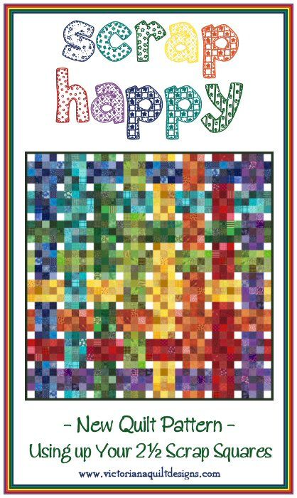 """Scrap Happy Quilt Pattern http://www.victorianaquiltdesigns.com/VictorianaQuilters/PatternPage/ScrapHappy/ScrapHappyQuiltPattern.htm Like my Scraps Galore pattern, this one uses your 2 1/2"""" scrap squares!  #quilting #rainbow"""