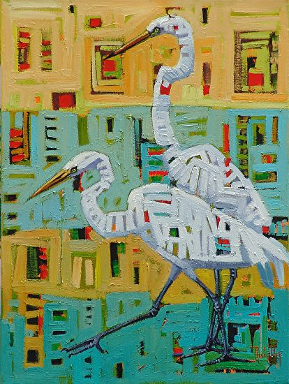 """Elegant Pair,"" by Rene Wiley by Rene' Wiley Gallery Oil ~ 24 x 18"