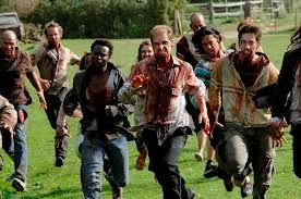In the film 28 Days later...zombies can run... :S because they are 'infected' with rage virus, they aren't dead.....they end up starving to death because they are so full of rage againt humanity that theyy don't do anything but pursue people to hurt and don't look after themselves at all.