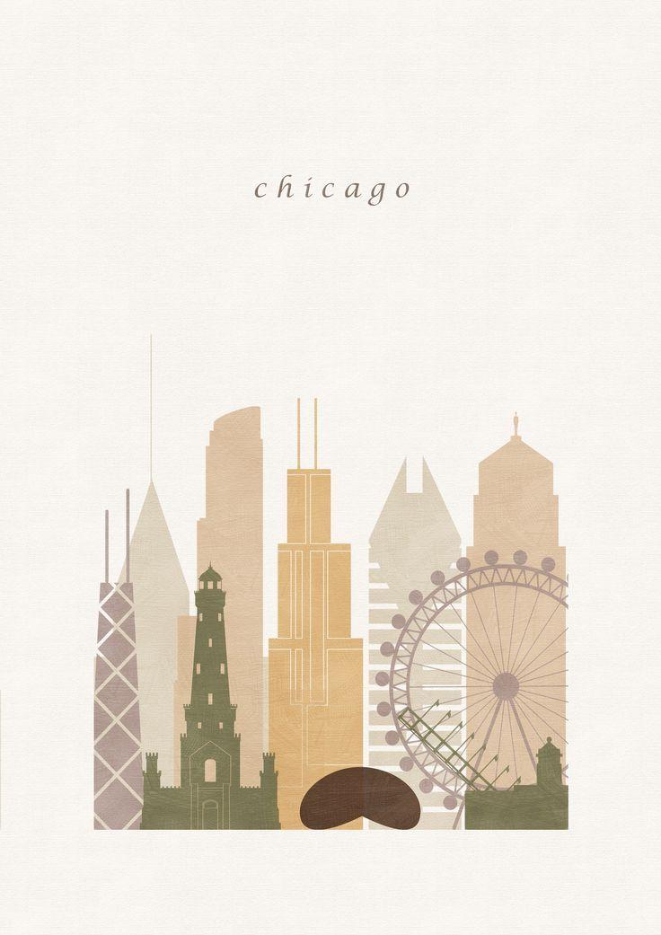 Chicago Decor Illinois Print Of Art Travel Poster Etsy Chicago Wall Art Chicago Map Map Wall Art