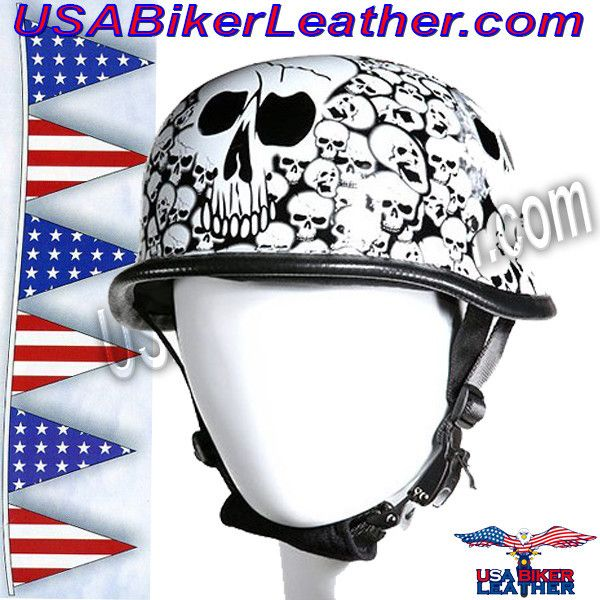 White German Novelty Motorcycle Helmet / SKU USA-H5402-WHITE-DL