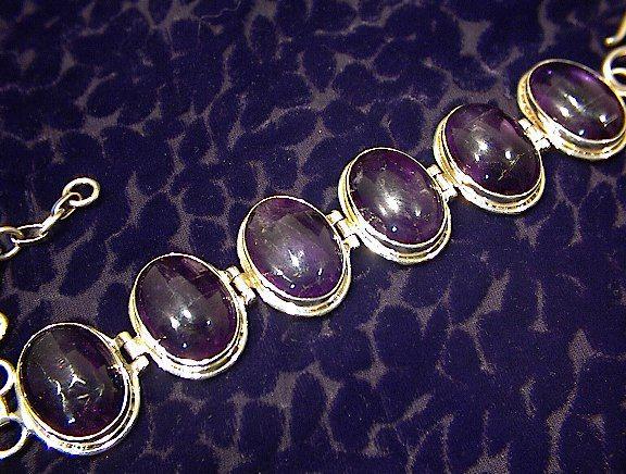 Sterling Silver Cabochon Amethysts Bracelet Indonesia