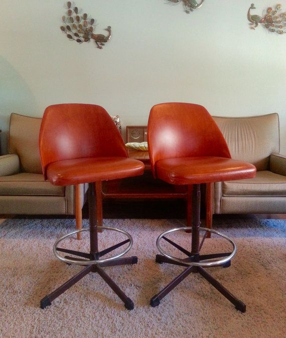 Mid Century Modern Cosco Bar Stools Pair Reserved for Svetlana