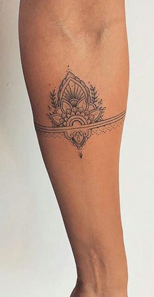 Pretty Black Henna Lotus Forearm Tattoo ideas for Women – Tribal Boho Flower Out…