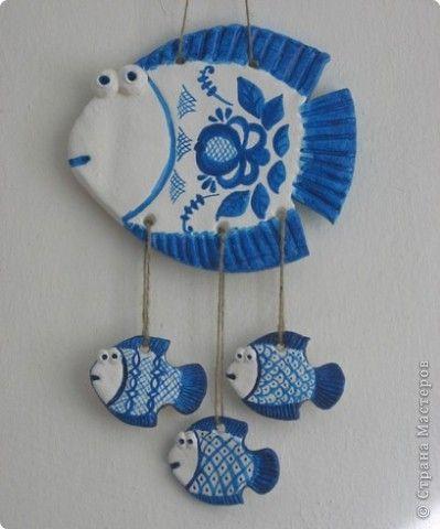 Поделка изделие Лепка Роспись Мои рыбки Краска Тесто соленое фото 2
