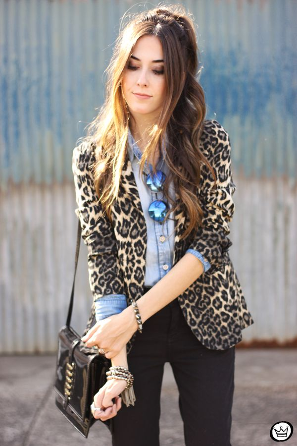 leopard blazer and denim