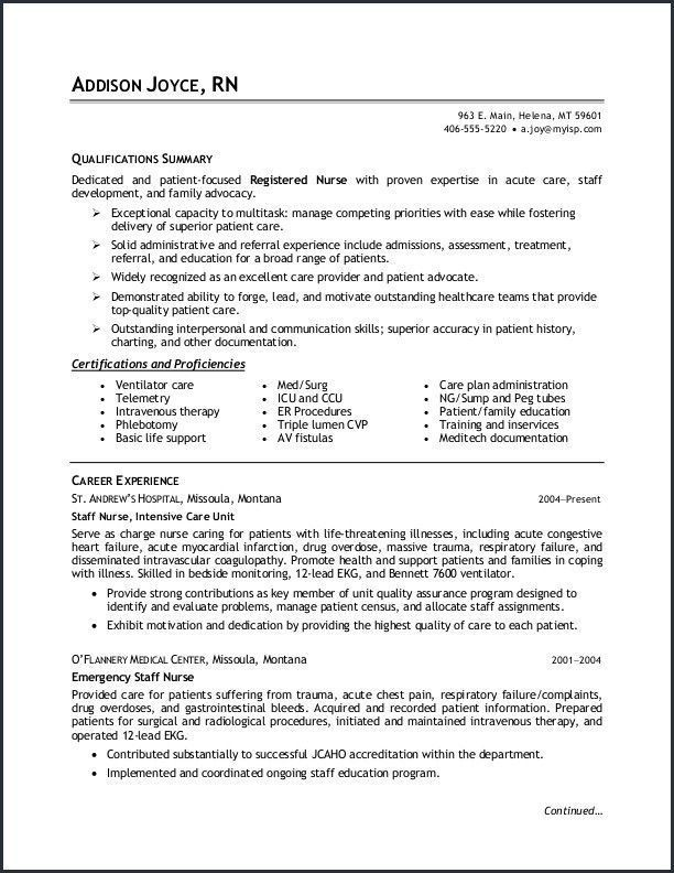 √ 30 Med Surg Nurse Resume | Cover Letter Templates ...