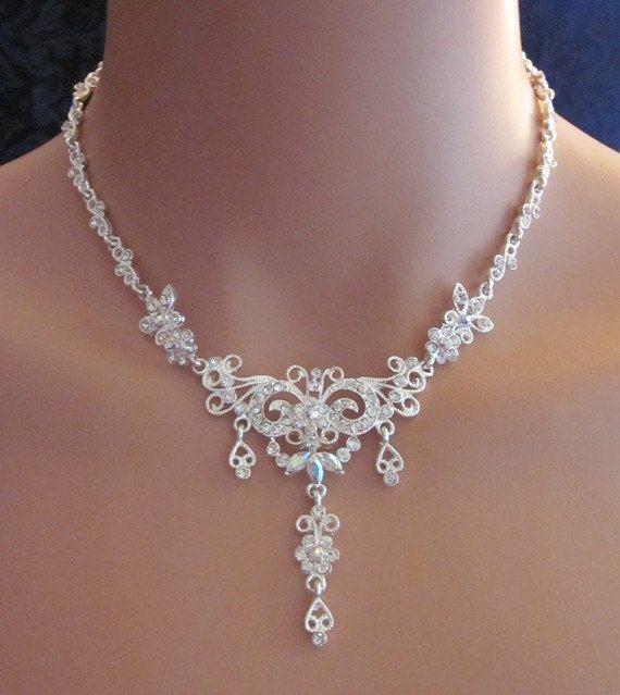 Aurora Borealis Rhinestone Bridal Necklace by amazinglybeautiful, $16.00