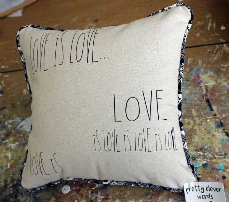 love is love - canvas word art pillow