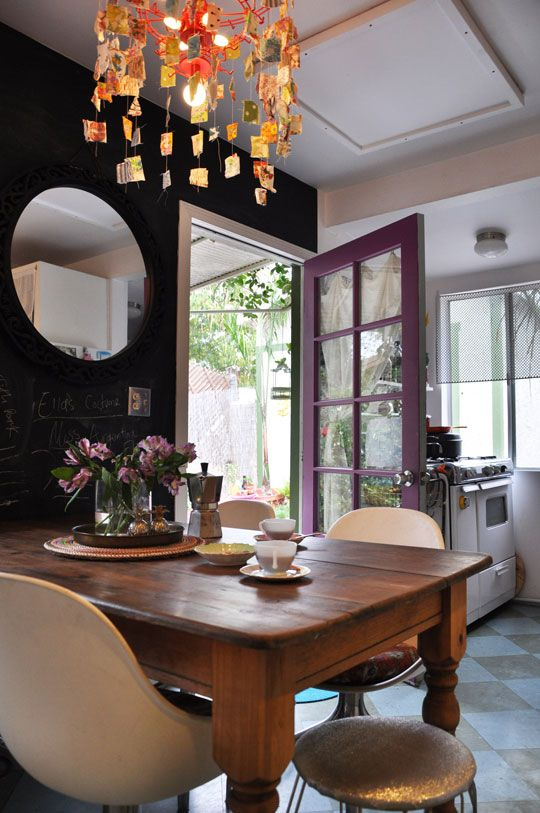 An Upcycled Chandelier for the Kitchen RoomarksKitchens, Dining Room, Modern Chairs, Colors, Rustic Tables, Purple Doors, Dark Wall, Chalkboards Wall, Black Wall