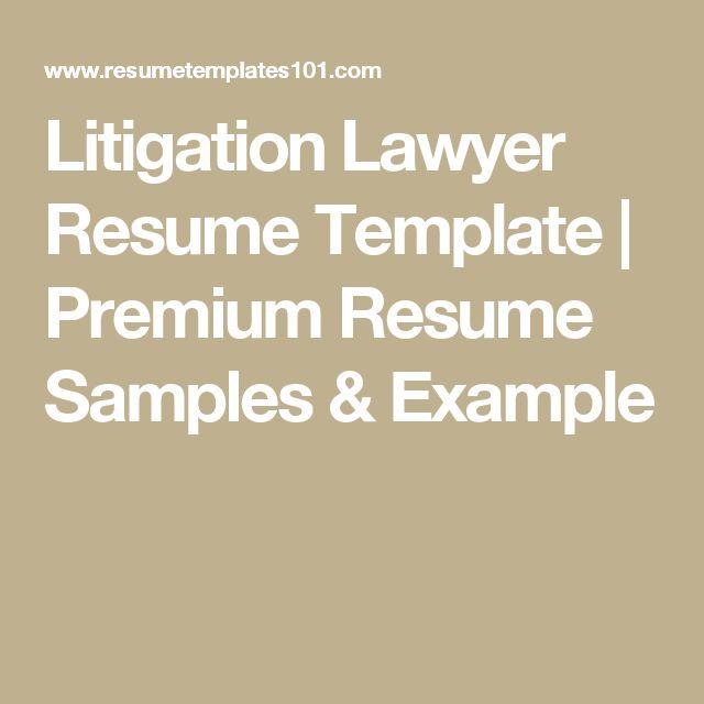 Litigation Lawyer Resume Template | Premium Resume Samples & Example