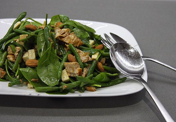 Delicious chicken salad with feta, beans and almonds.  Great easy dinner, will make again!!
