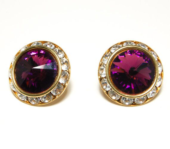 Vintage 1980s Glamour Swarovski Rivoli Amethyst Royal Purple Cut Crystal Pierced Earrings wit Bezel Set Clear Crystals