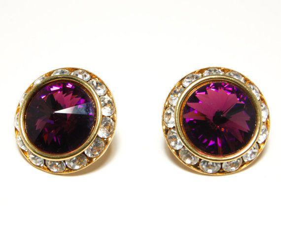 Vintage 1980s Glamour Swarovski Rivoli Amethyst Royal Purple Cut Crystal Pierced Earrings wit Bezel Set Clear Crystals