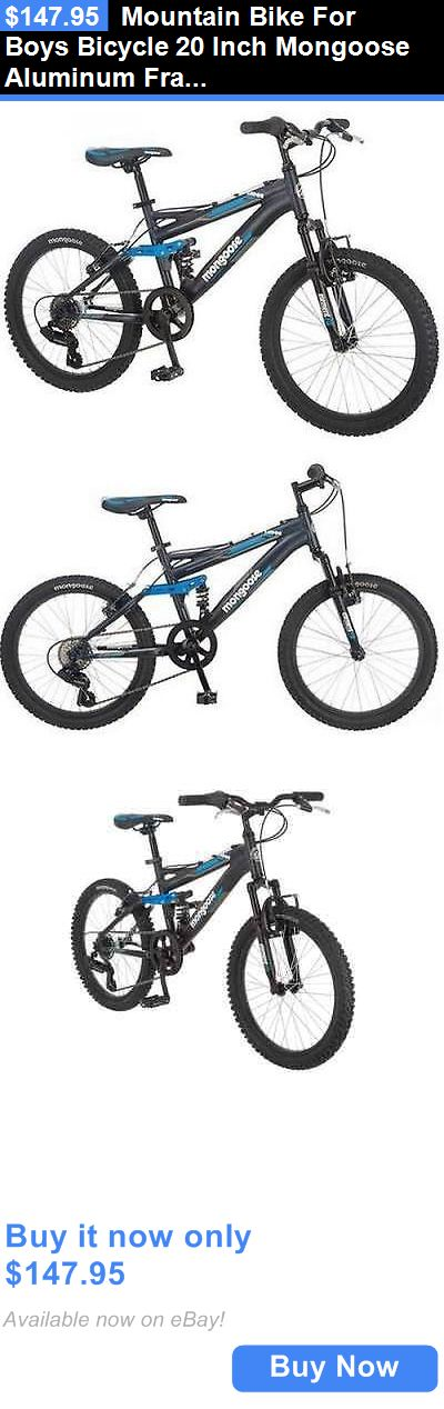 bicycles: Mountain Bike For Boys Bicycle 20 Inch Mongoose Aluminum Frame Full Suspension BUY IT NOW ONLY: $147.95