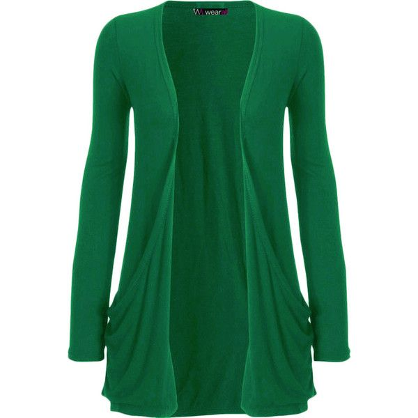 WearAll Destiny Long Sleeve Open Cardigan ($14) ❤ liked on Polyvore featuring tops, cardigans, coats, jade, plus size cardigan, plus size womens cardigans, green top, plus size open cardigan and long sleeve tops
