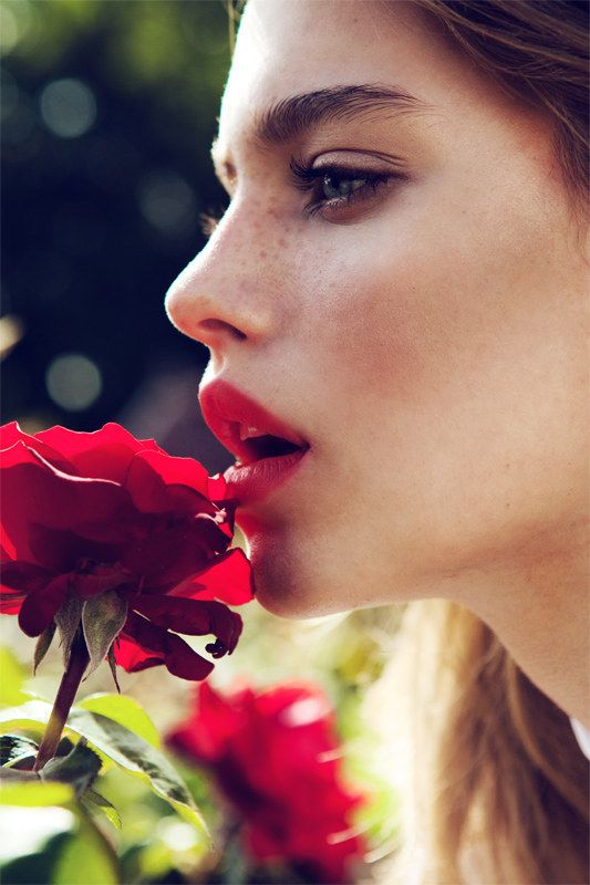 Tiera Dyck is a Flower Girl for Elle China August 2012, Lensed by Michelle Du XuanRed Lipsticks, Fashion, Red Flower, Makeup, Red Rose, Freckles, Nature Beautiful, Flower Girls, Redlips